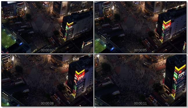 从高空拍摄市中心人潮拥挤的实拍视频