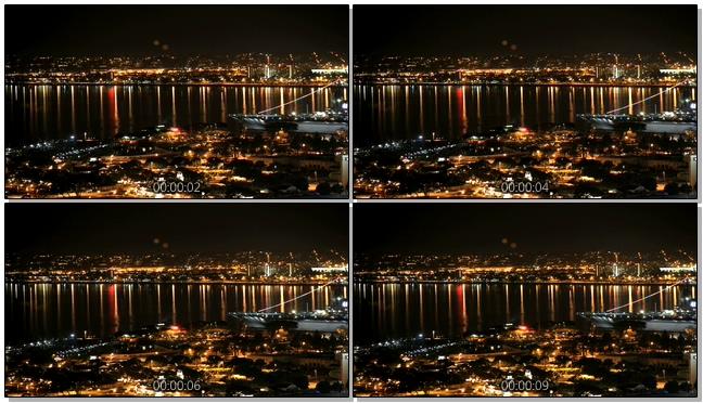 唯美梦幻的城市霓虹灯游轮流动的实拍视频