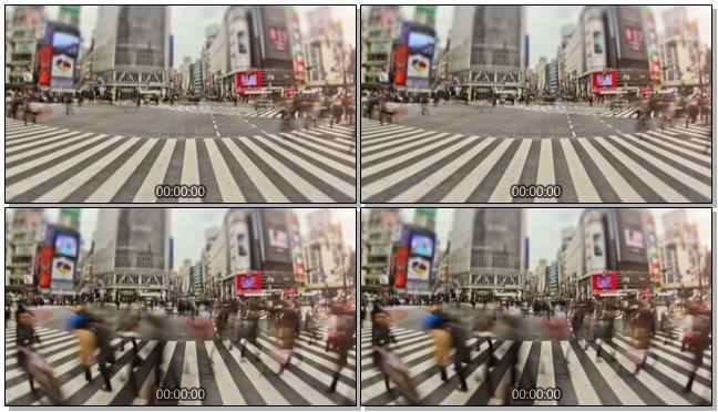 近距离拍摄市中心人潮流动的实拍视频