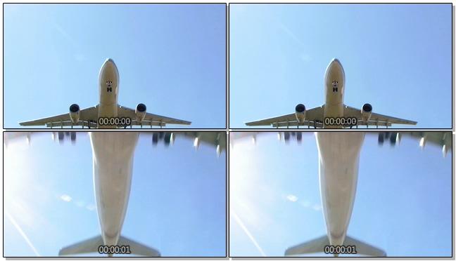 从飞机下方拍摄飞行的实拍视频