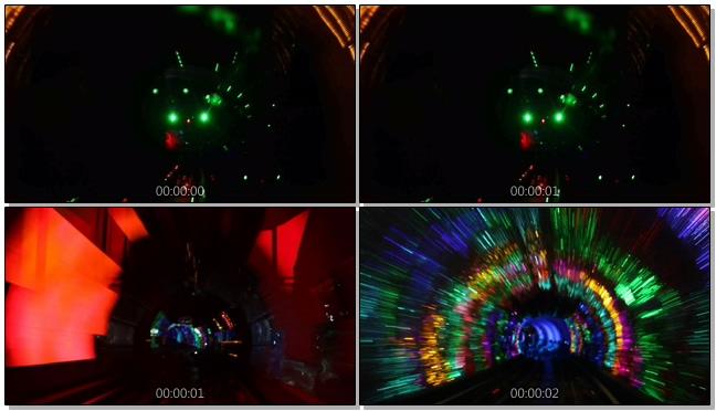 动感唯美的彩色隧道快速通过的实拍视频