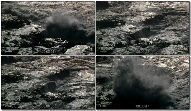 黄昏下的海浪拍打岸边实拍视频