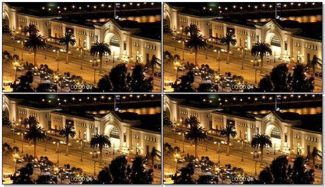 延时拍摄夜晚城市车流移动的实拍视频