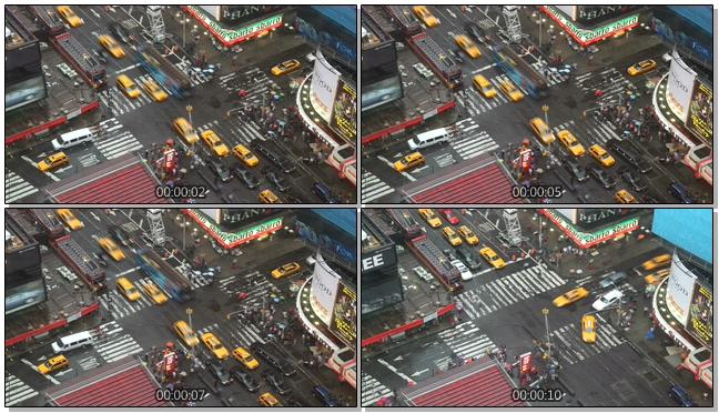 从城市上空拍摄汽车移动的实拍视频