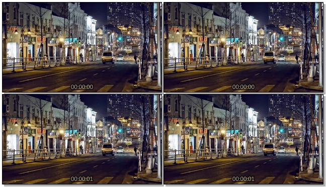 高清拍摄城市夜晚街头车流的实拍视频