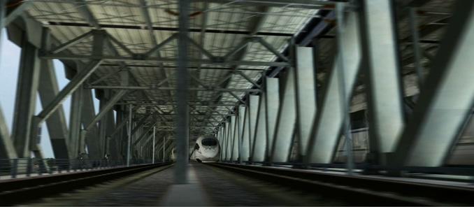 高清拍摄高铁运行过程的实拍视频