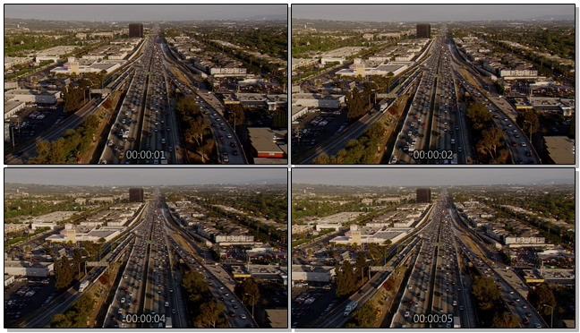 航拍城市汽车交通拥挤的实拍视频