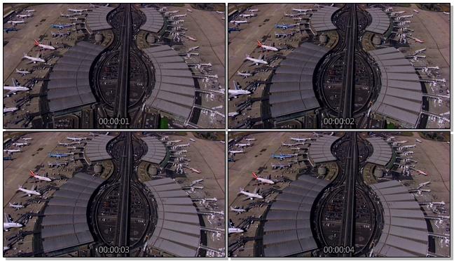 高空拍摄飞机场边的汽车行驶实拍视频
