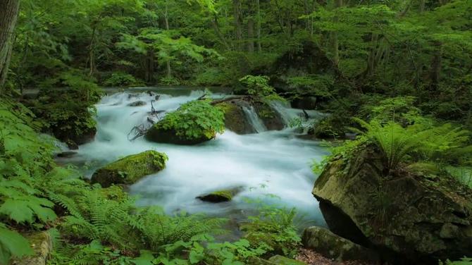 日本秋田山自然景色真实面貌实拍视频
