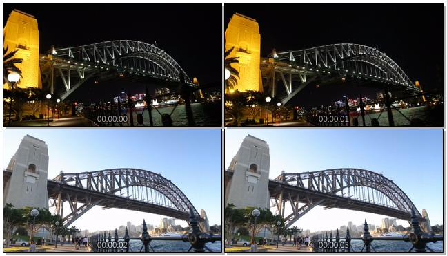 昼夜交替的高架桥下游轮行驶的实拍视频