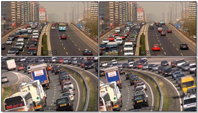 高清拍摄城市汽车拥挤的实拍视频