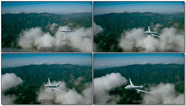 航拍飞机在山林间飞行的实拍视频