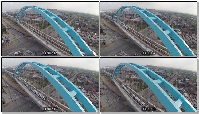 航拍高铁在高架桥中穿梭的实拍视频