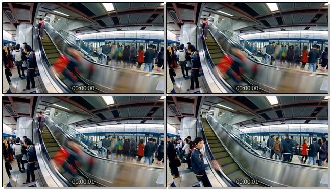 地铁等候台上的人流拥挤实拍视频