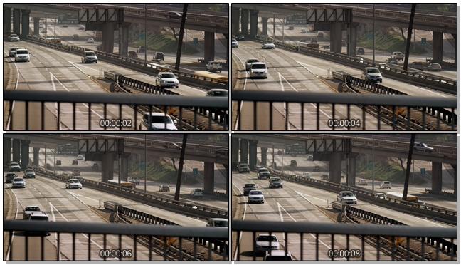 小汽车在高速岔路口行驶的实拍视频