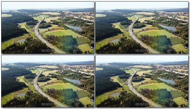 航拍汽车在高速公路上穿行的视频素材