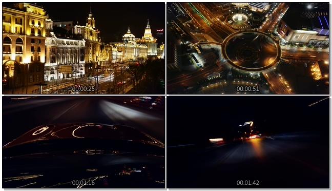 延迟拍摄上海夜晚交通的实拍视频
