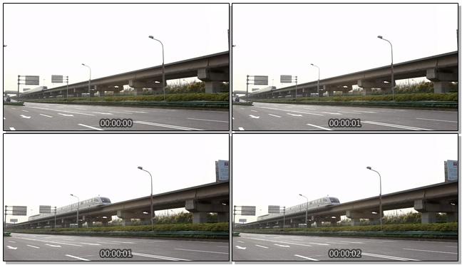 从远方拍摄高铁快速通过的实拍视频
