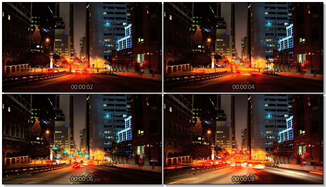 延时拍摄城市夜晚汽车穿行的实拍视频