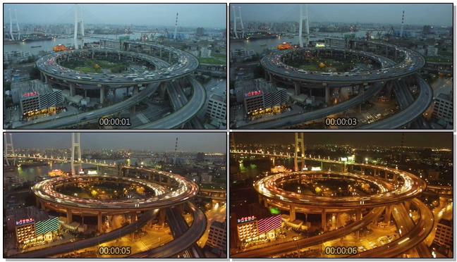 记录城市从白到黑的交通方式实拍视频
