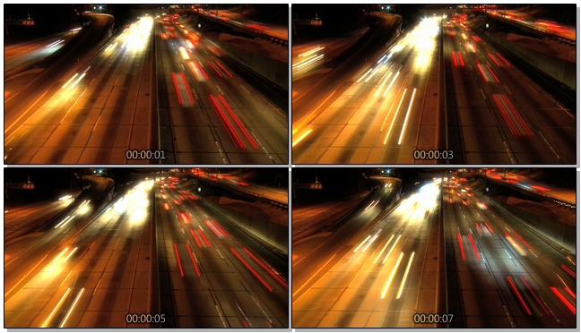 延时拍摄汽车在高速公路夜间行驶的实拍视频
