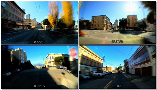 延时拍摄城市大街小巷中的汽车行驶实拍视频