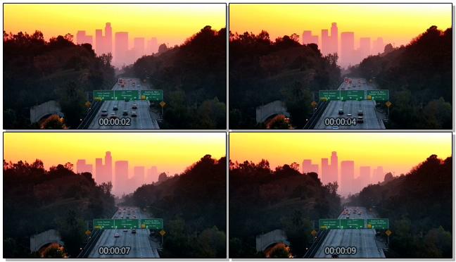 梦幻唯美的黄昏下汽车行驶的实拍视频
