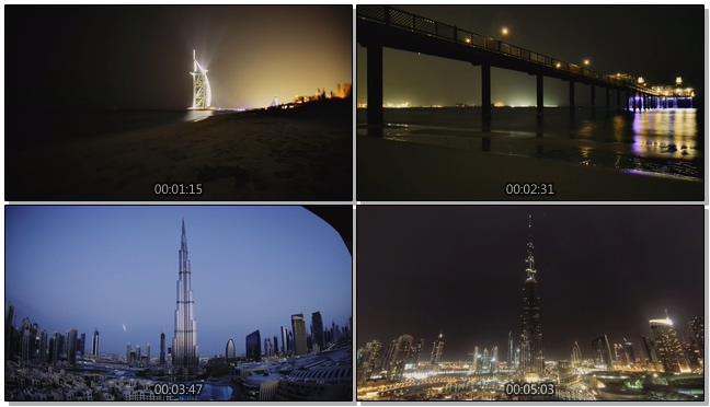 高空拍摄迪拜城市昼夜交替的实拍视频