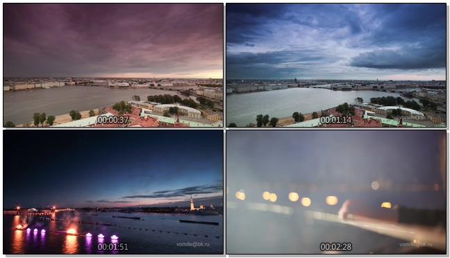 航拍城市中昼夜交替的实拍视频
