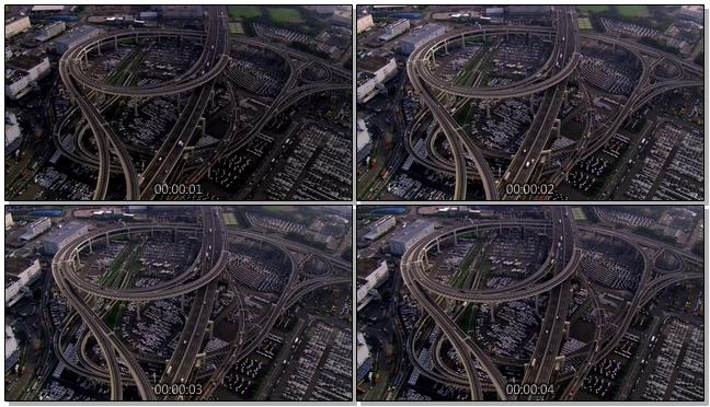 错综复杂的立交桥汽车行驶实拍视频