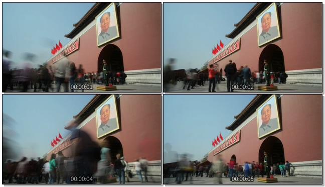 国庆假日天安门广场人流拥挤的实拍视频