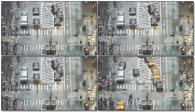 高清拍摄城市雨中车流快速移动的实拍视频