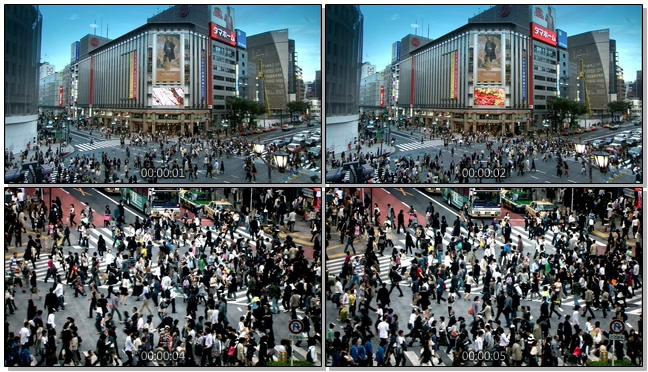 城市十字路口人流拥挤的实拍视频