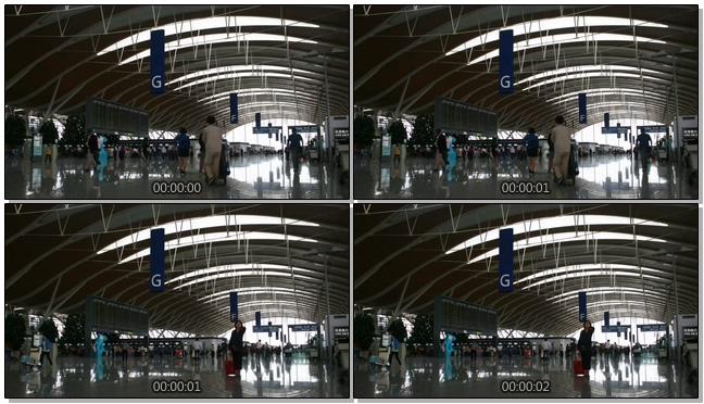 延时拍摄高铁站内人流行走的实拍视频