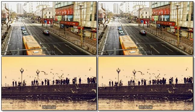 延时拍摄城市车流人流的实拍视频