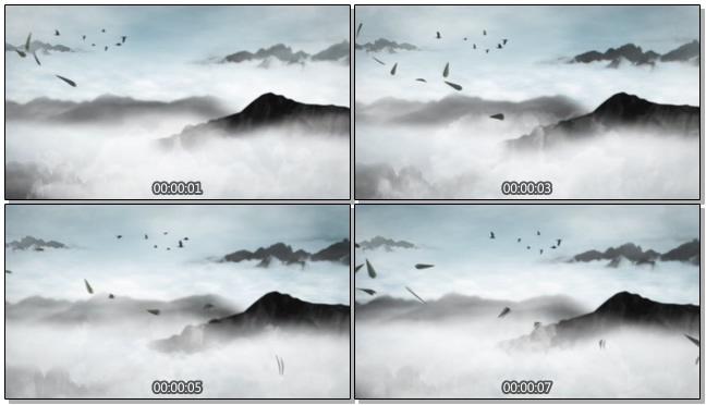 水墨竹叶飘过的视频素材