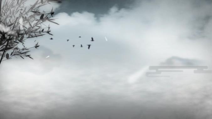 小鸟缓慢飞过天空的水墨画视频素材