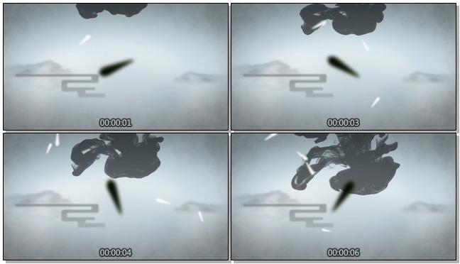 水墨从天空上方晕染落下的视频素材