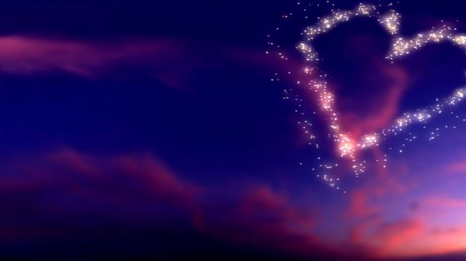 蓝紫色天空爱心背景视频素材