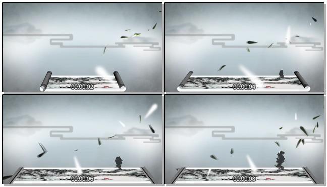 水墨卷轴向两边打开的视频素材