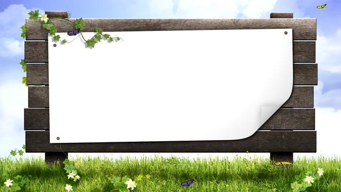 蝴蝶飞舞自热美景中的木板边框视频素材