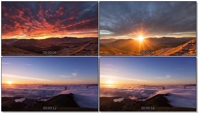 浪漫唯美的山间日出升起的实拍视频
