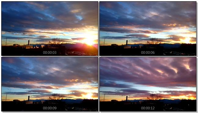 火红唯美的落日覆盖农村小镇的实拍视频