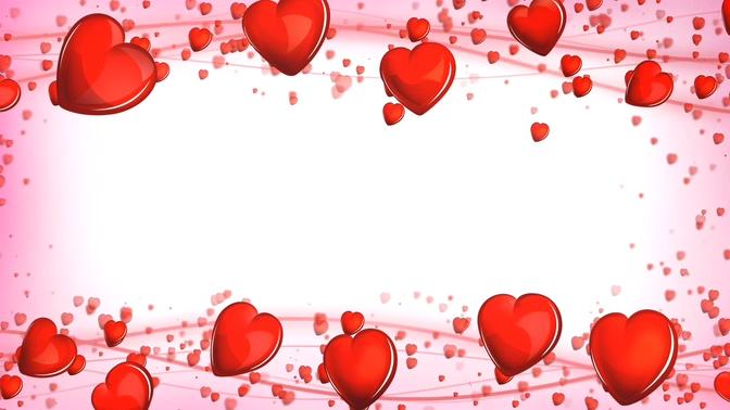浪漫唯美的红色心形边框视频素材