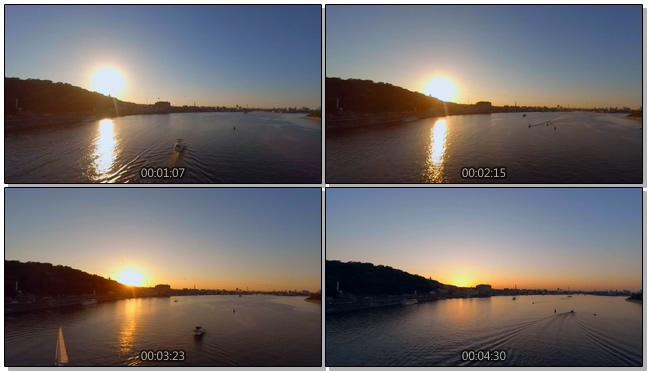 平静唯美的日落过程实拍视频