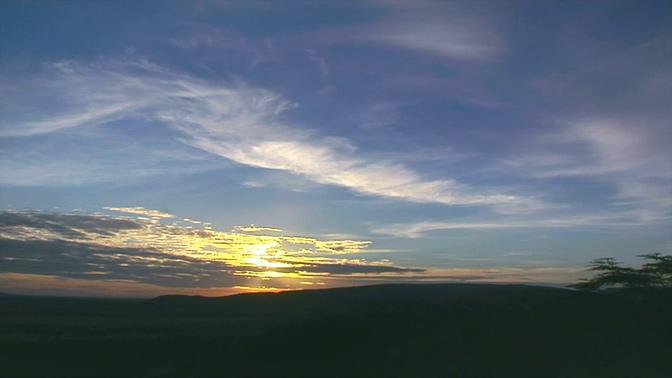 从远处拍摄日出升起的实拍视频