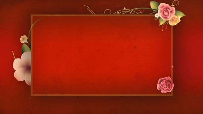 鲜花盛开的红色幕布边框视频素材