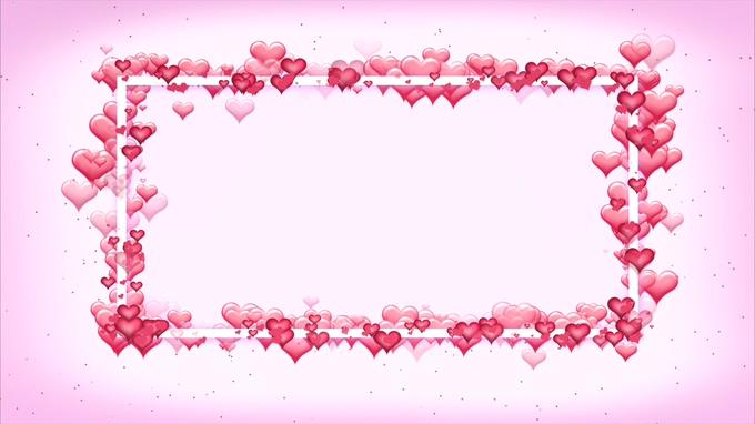 浪漫唯美的粉红色心形边框视频素材