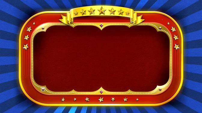 金色星星围绕的红色边框旋转视频素材