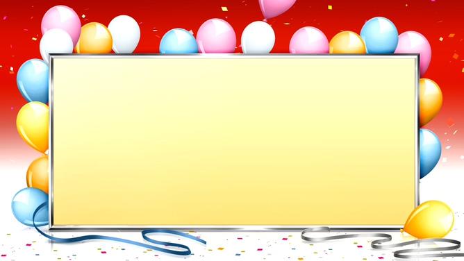 浪漫五彩气球包围的黄色边框视频素材